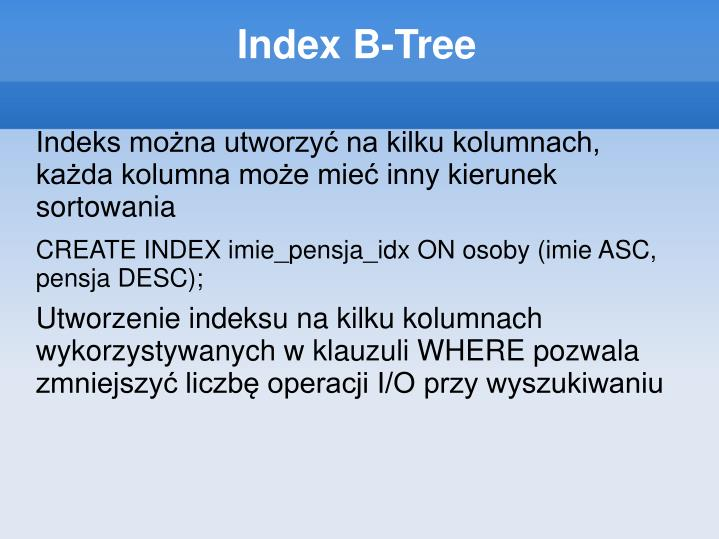Index B-Tree