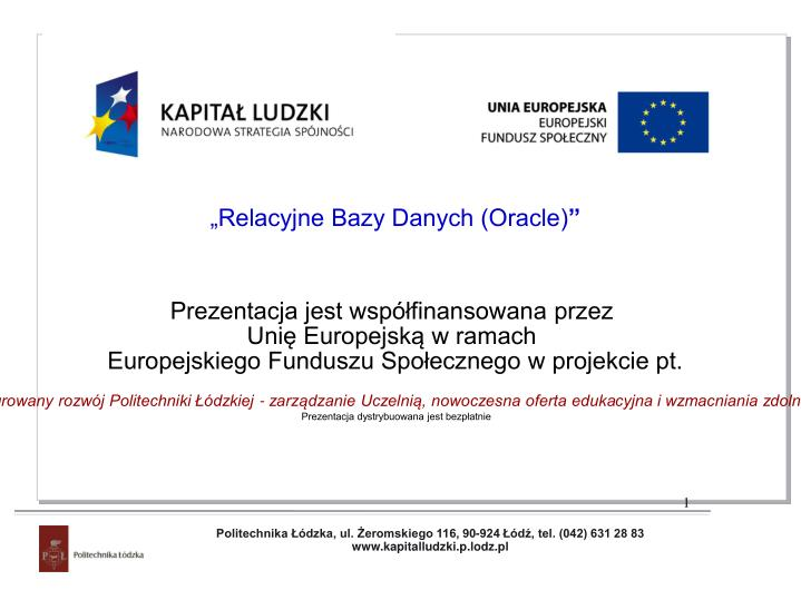 """""""Relacyjne Bazy Danych (Oracle)"""