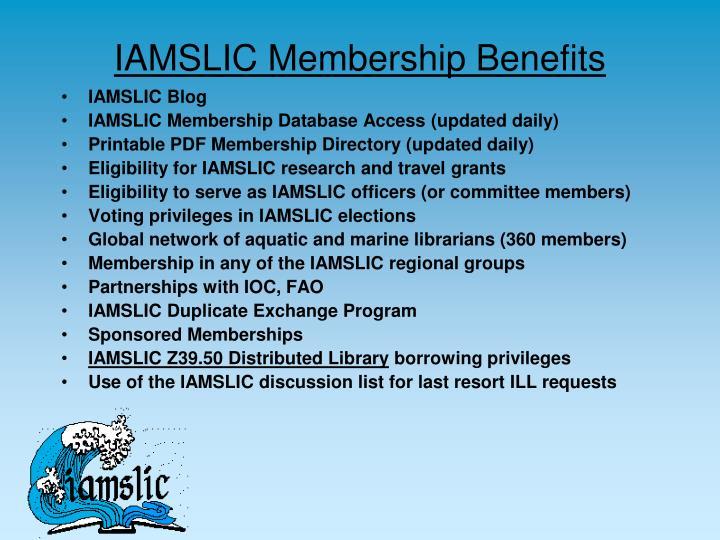 Iamslic membership benefits