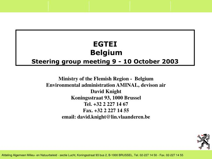 Egtei belgium steering group meeting 9 10 october 2003