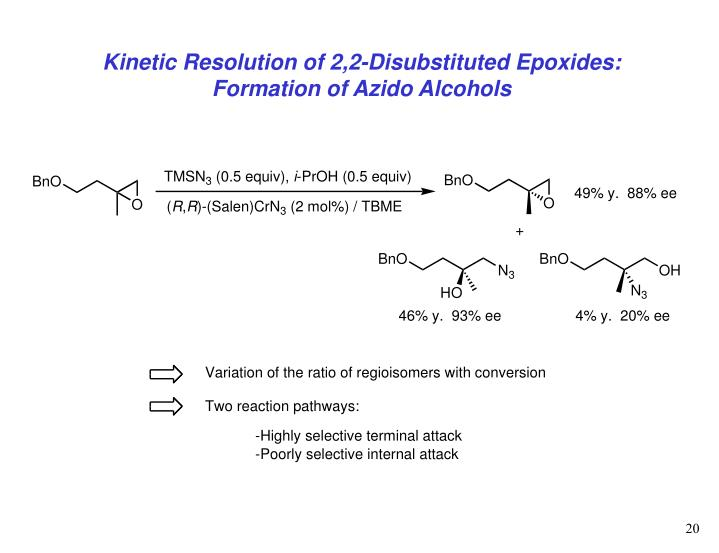 Kinetic Resolution of 2,2-Disubstituted Epoxides: Formation of Azido Alcohols