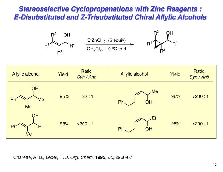 Stereoselective Cyclopropanations with Zinc Reagents :