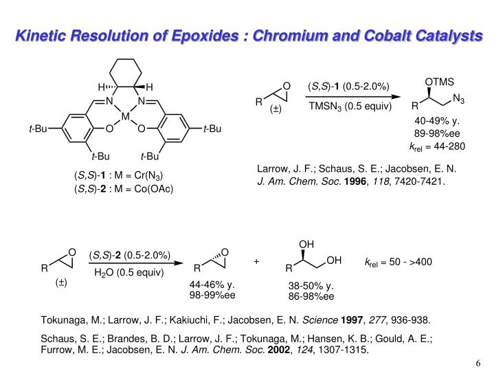 Kinetic Resolution of Epoxides : Chromium and Cobalt Catalysts