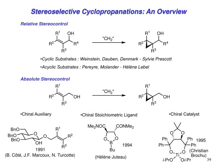Stereoselective Cyclopropanations: An Overview