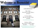 welcome to reynolds1