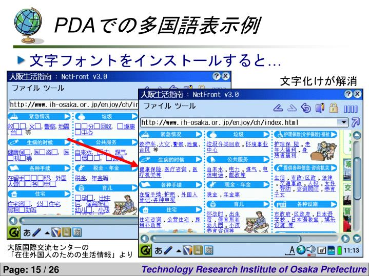 PDAでの多国語表示例
