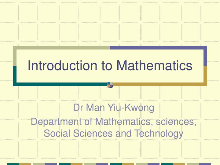 introduction to mathematics n.