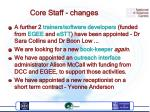 core staff changes
