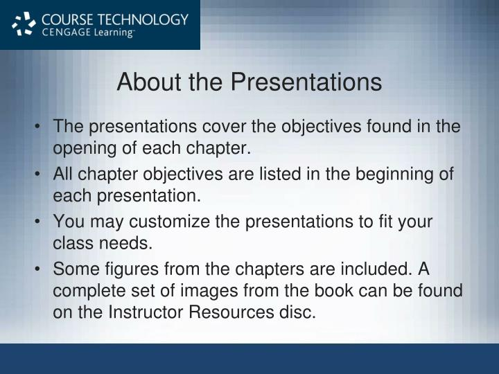 about the presentations n.