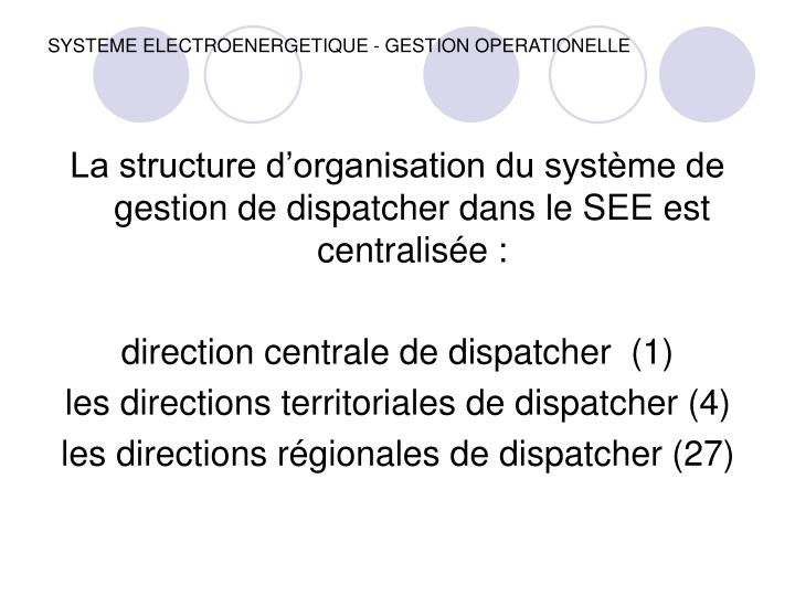 SYSTEME ELECTROENERGETIQUE - GESTION OPERATIONELLE