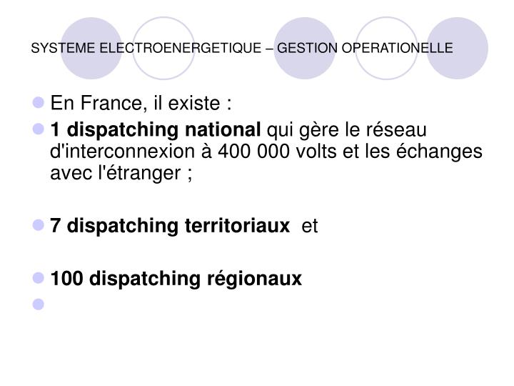 SYSTEME ELECTROENERGETIQUE – GESTION OPERATIONELLE