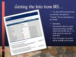 getting the info from irs1