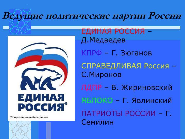 Ведущие политические партии России