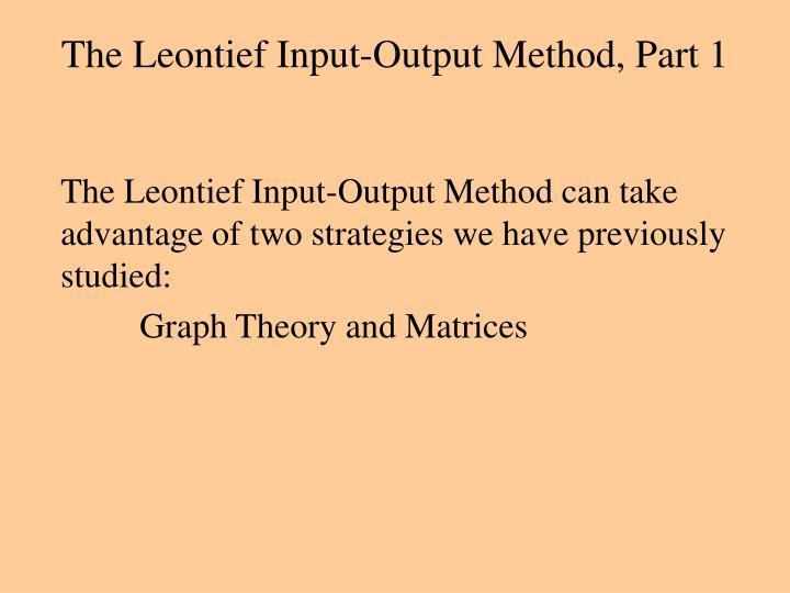 The leontief input output method part 12