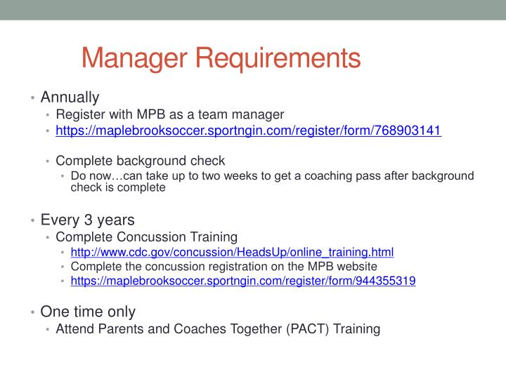 Manager Requirements