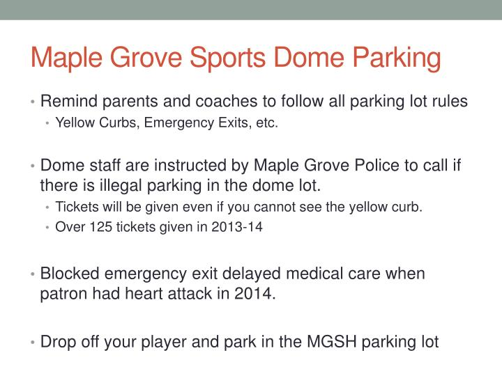 Maple Grove Sports Dome Parking