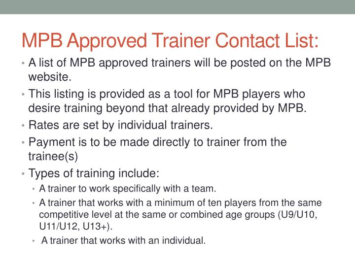 MPB Approved Trainer Contact List: