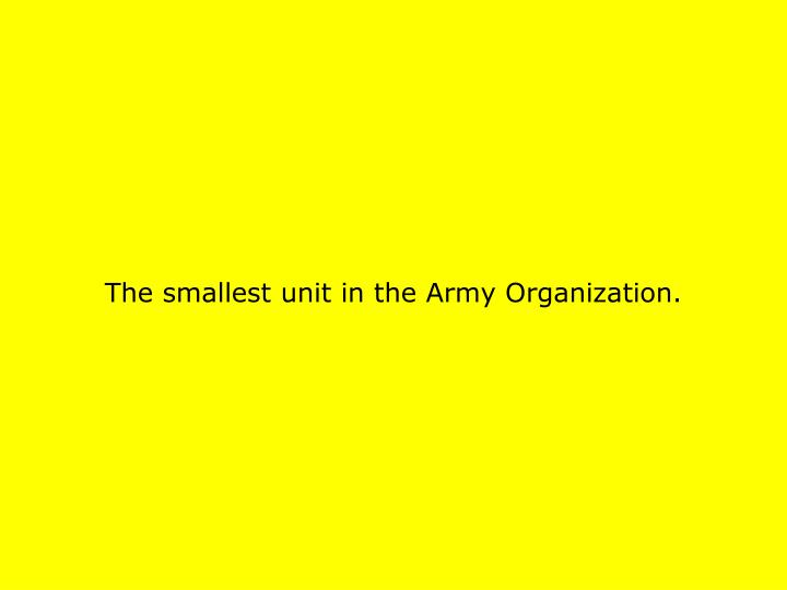The smallest unit in the Army Organization.