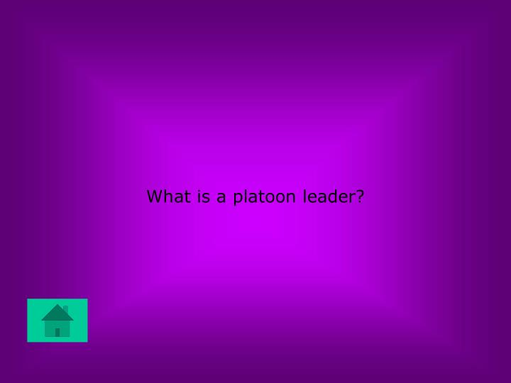 What is a platoon leader?