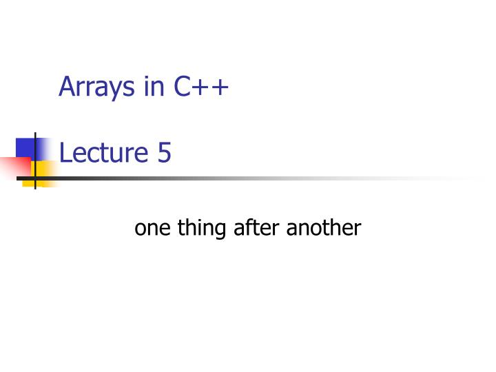 arrays in c lecture 5 n.