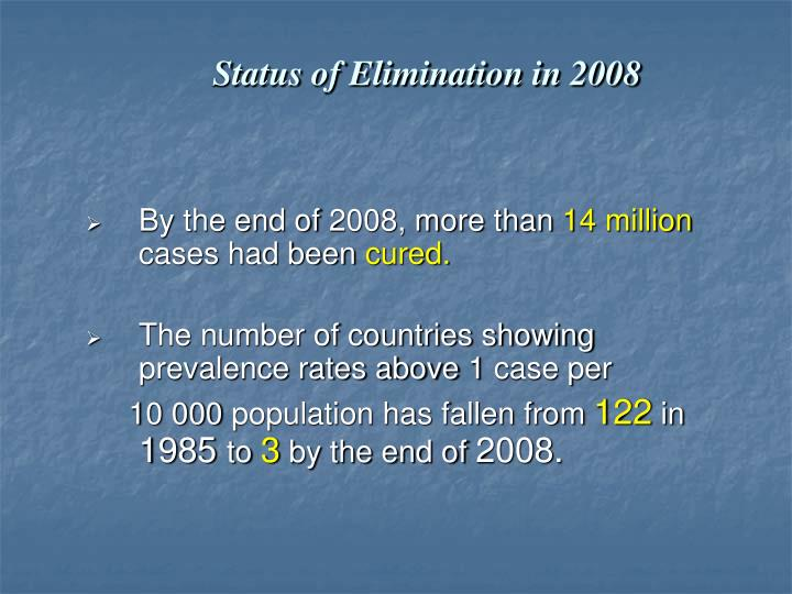 Status of Elimination in 2008