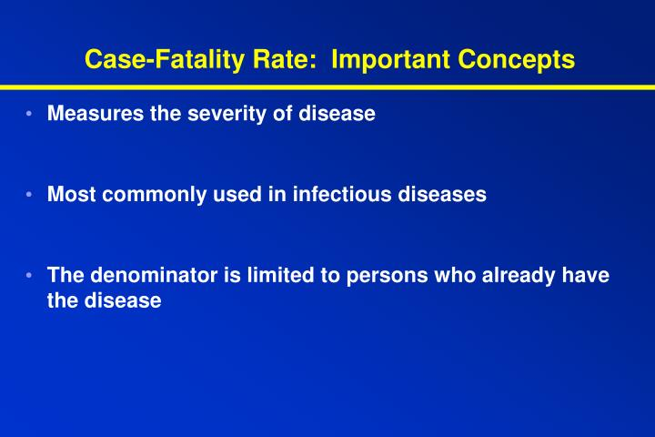 Case-Fatality Rate:  Important Concepts