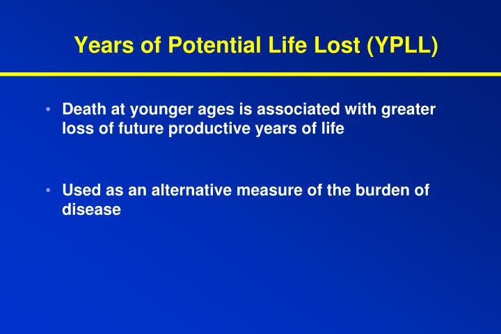 Years of Potential Life Lost (YPLL)
