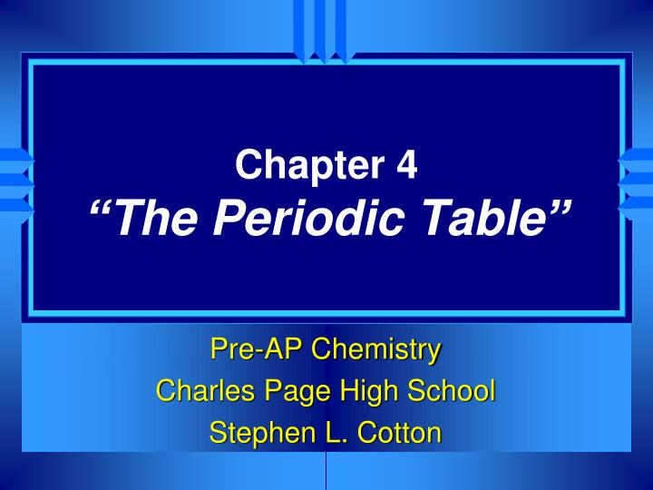chapter 4 the periodic table n.