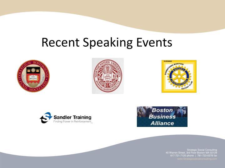 Recent Speaking Events