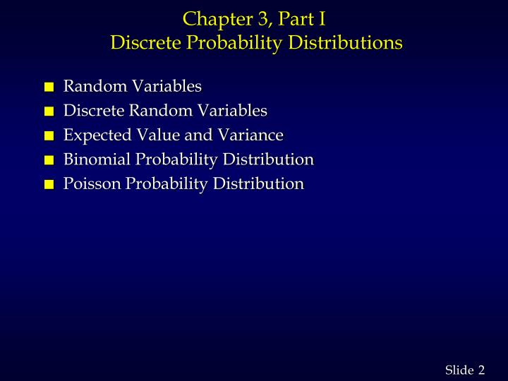 Chapter 3 part i discrete probability distributions