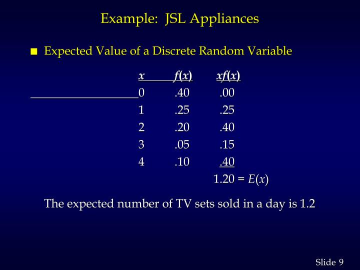 Example:  JSL Appliances