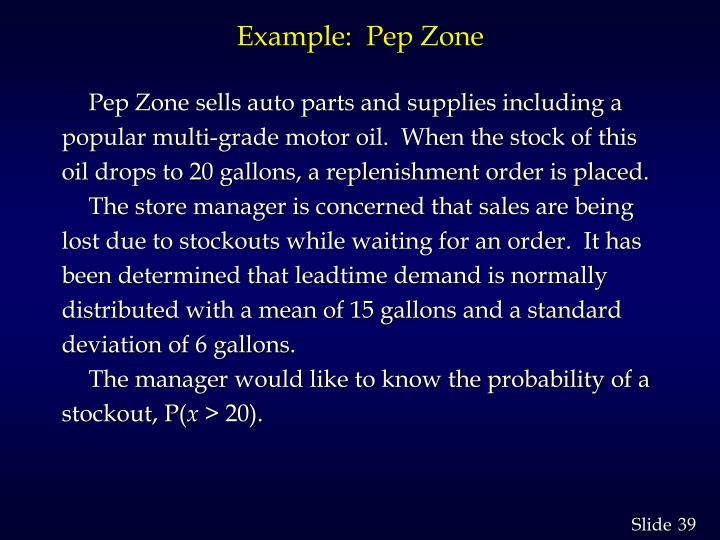 Example:  Pep Zone