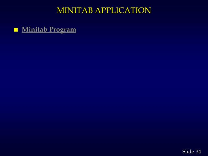 MINITAB APPLICATION