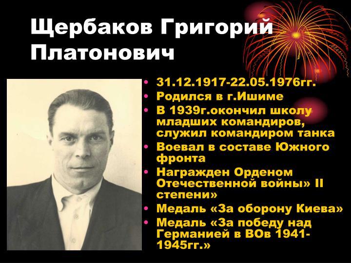 Щербаков Григорий Платонович