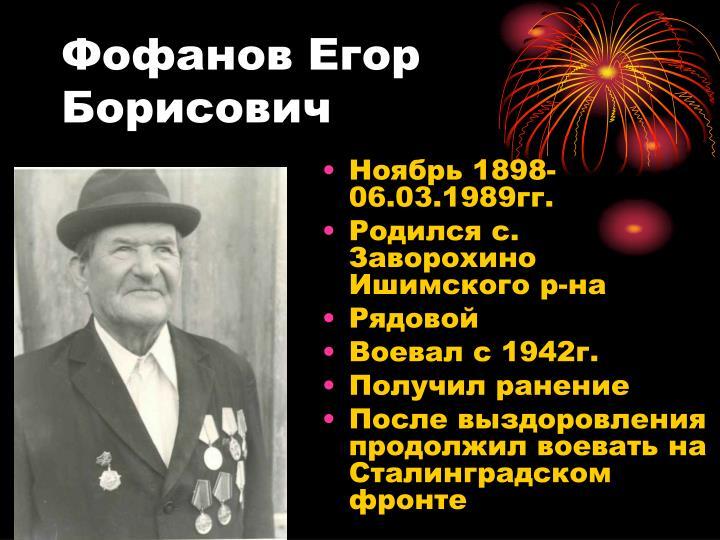 Фофанов Егор Борисович