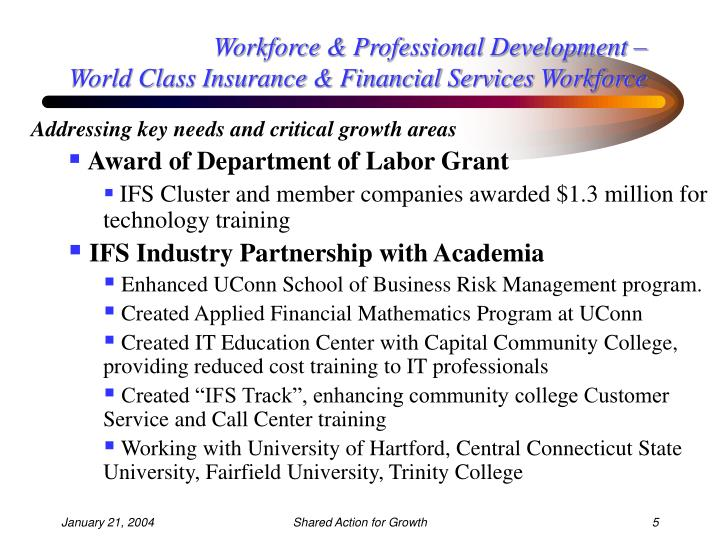 Workforce & Professional Development –