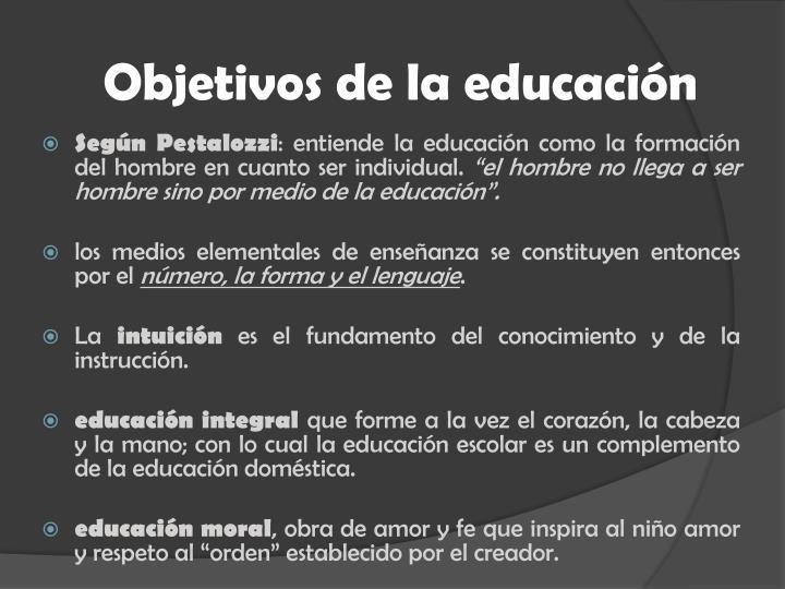 Objetivos de la educación