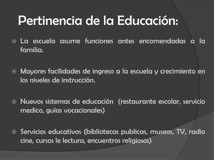 Pertinencia de la Educación:
