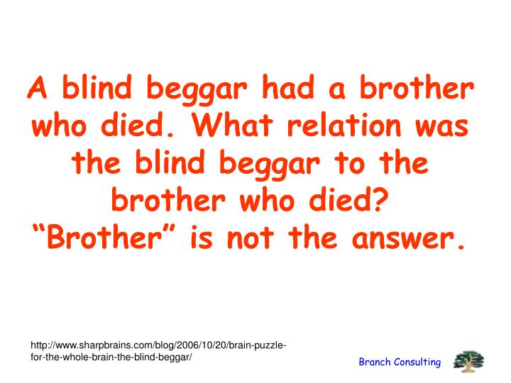 A blind beggar had a brother who died. What relation was