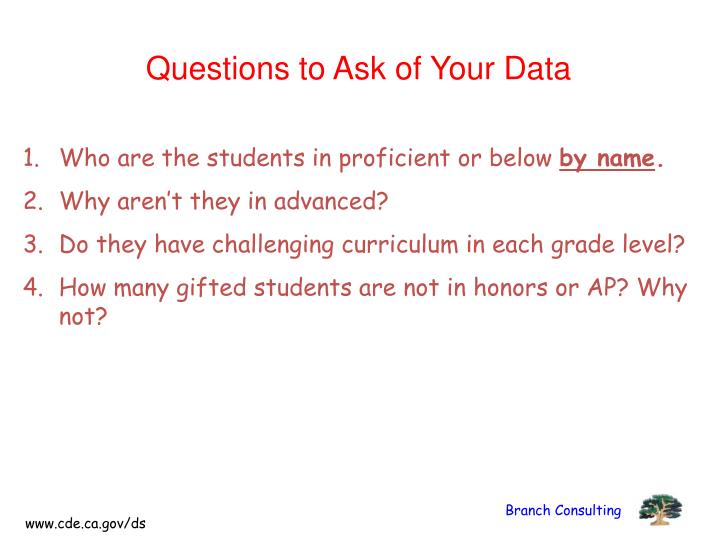Questions to Ask of Your Data
