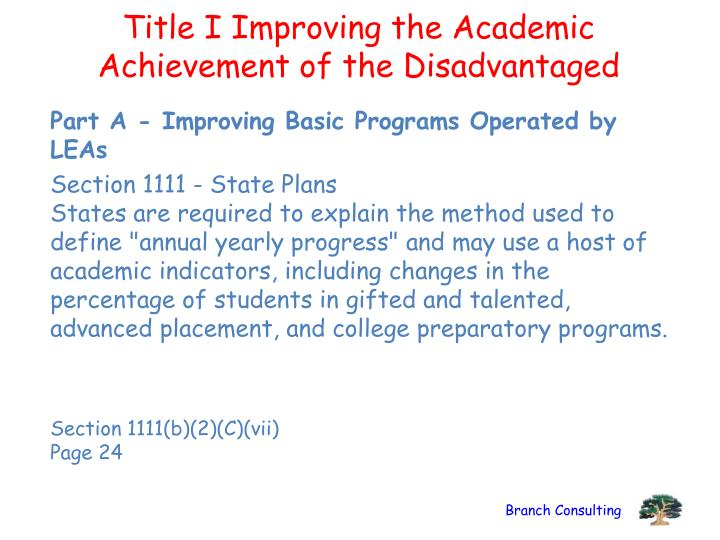 Title I Improving the Academic Achievement of the Disadvantaged