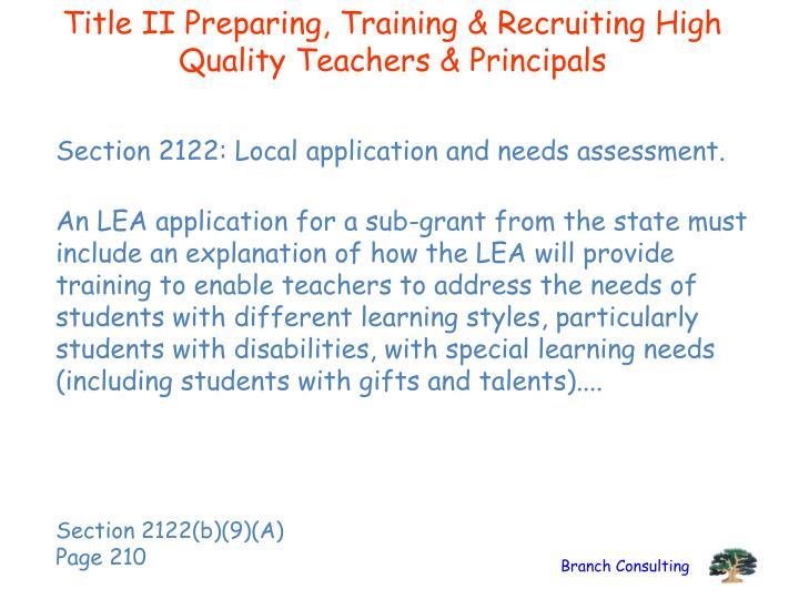 Title II Preparing, Training & Recruiting High Quality Teachers & Principals