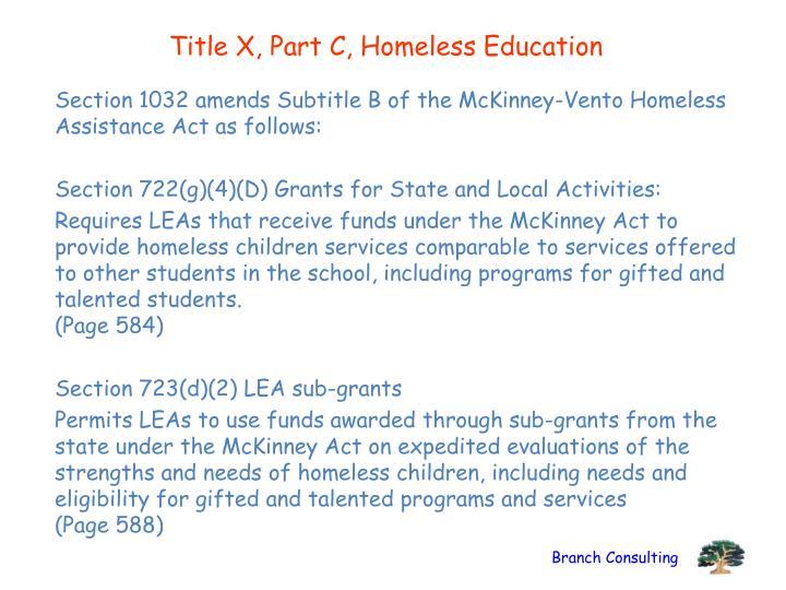 Title X, Part C, Homeless Education