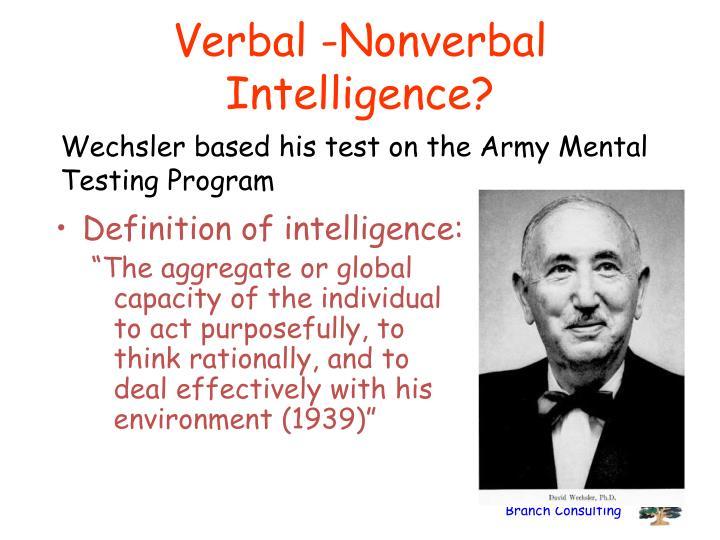 Verbal -Nonverbal Intelligence?
