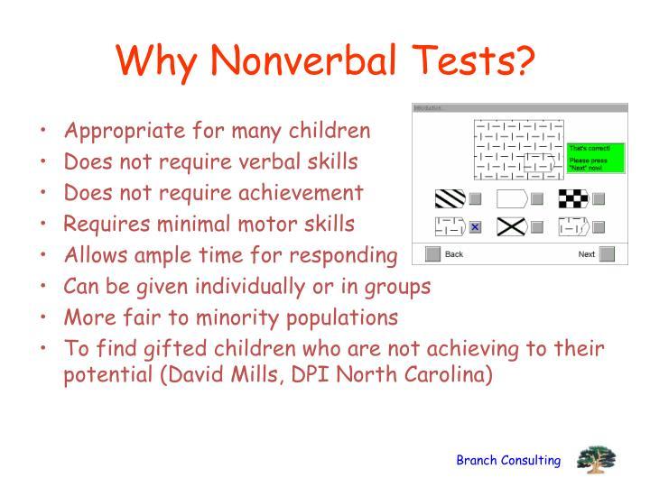 Why Nonverbal Tests?
