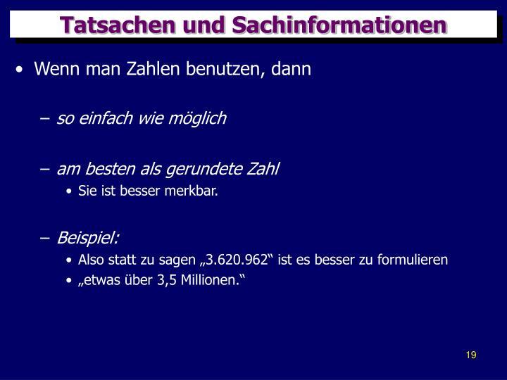 Tatsachen und Sachinformationen