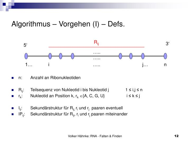 Algorithmus – Vorgehen (I) – Defs.