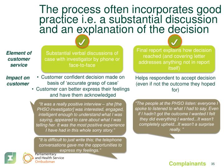 The process often incorporates good practice i.e. a substantial discussion and an explanation of the decision