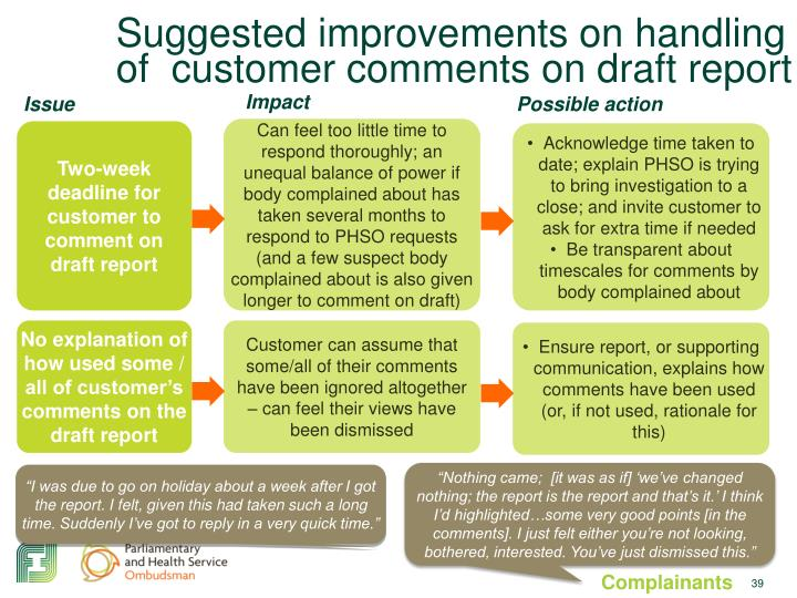 Suggested improvements on handling of  customer comments on draft report