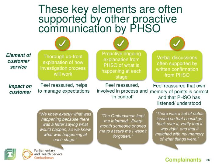 These key elements are often supported by other proactive communication by PHSO